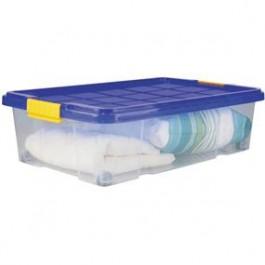 Box transparentný pod postel s modrým vrchnákom 60x40x18cm
