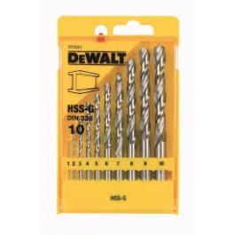 DEWALT sada vrtáků do kovuHSS-G 10 dílů 1-10mm  DT5921